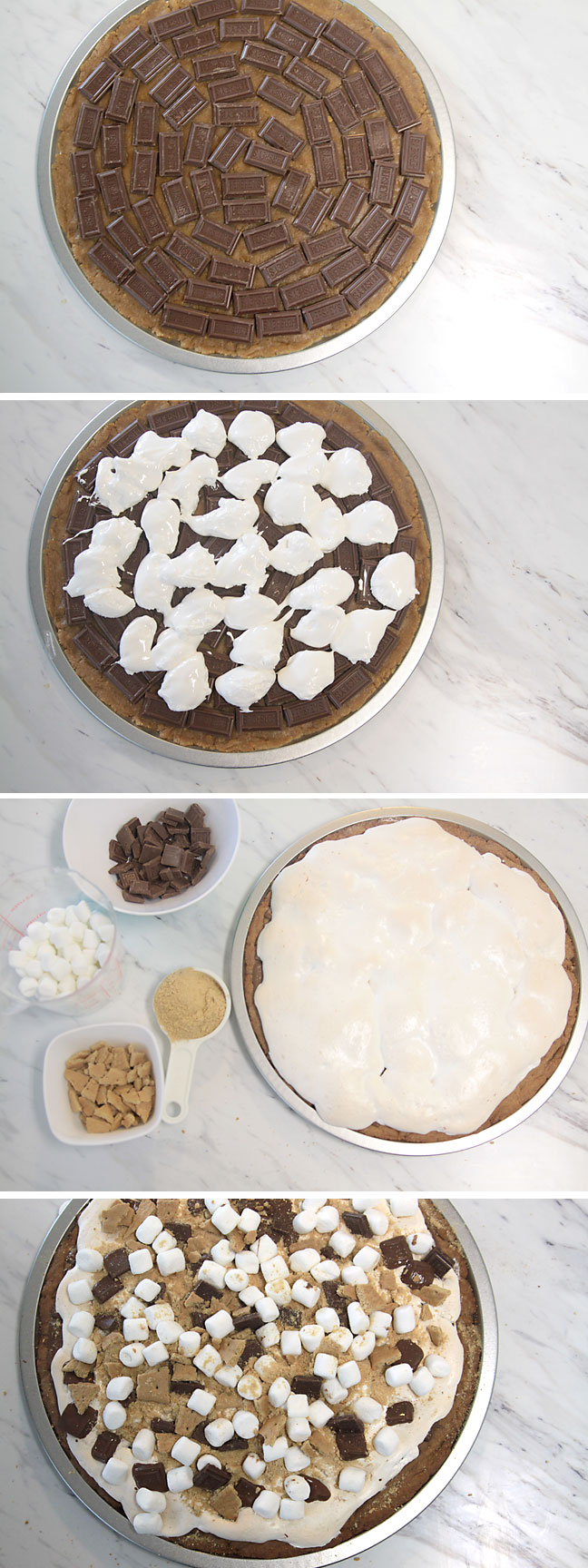 get the great taste of s'mores without the campfire with this easy bake at home s'mores pizza recipe