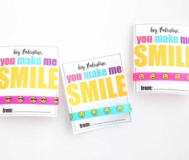 Cute Free Printable Diy Valentines Day Card With Emoji Bracelets Such A Fun Non