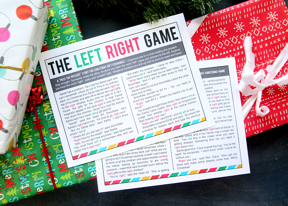 Image Of Left Right Stories For Christmas Gift Exchange Right Left ...
