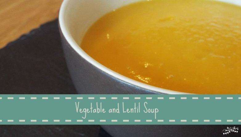 Bowl of vegetable and lentil soup