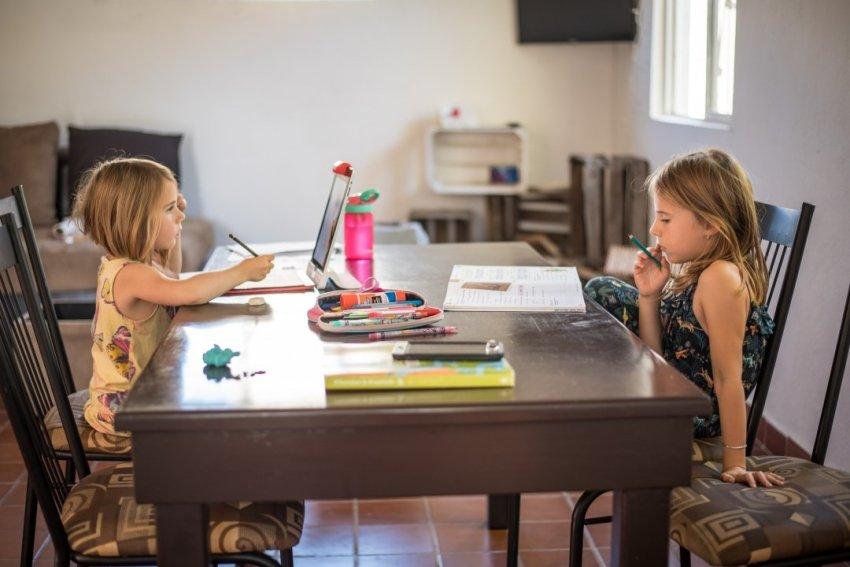 The girls doing homework