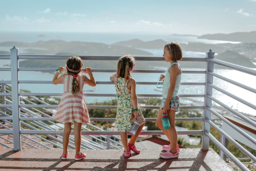 Girls looking out over St Thomas islands