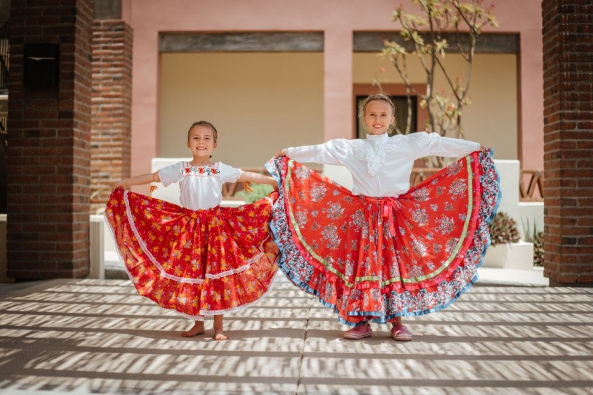 Girls in their dance dresses