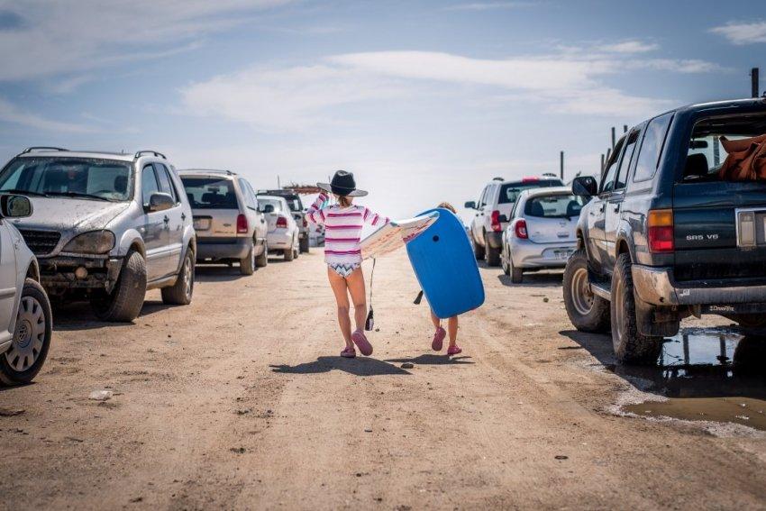 Girls heading to the beach