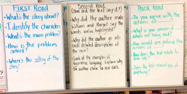 Compare questions during close reading