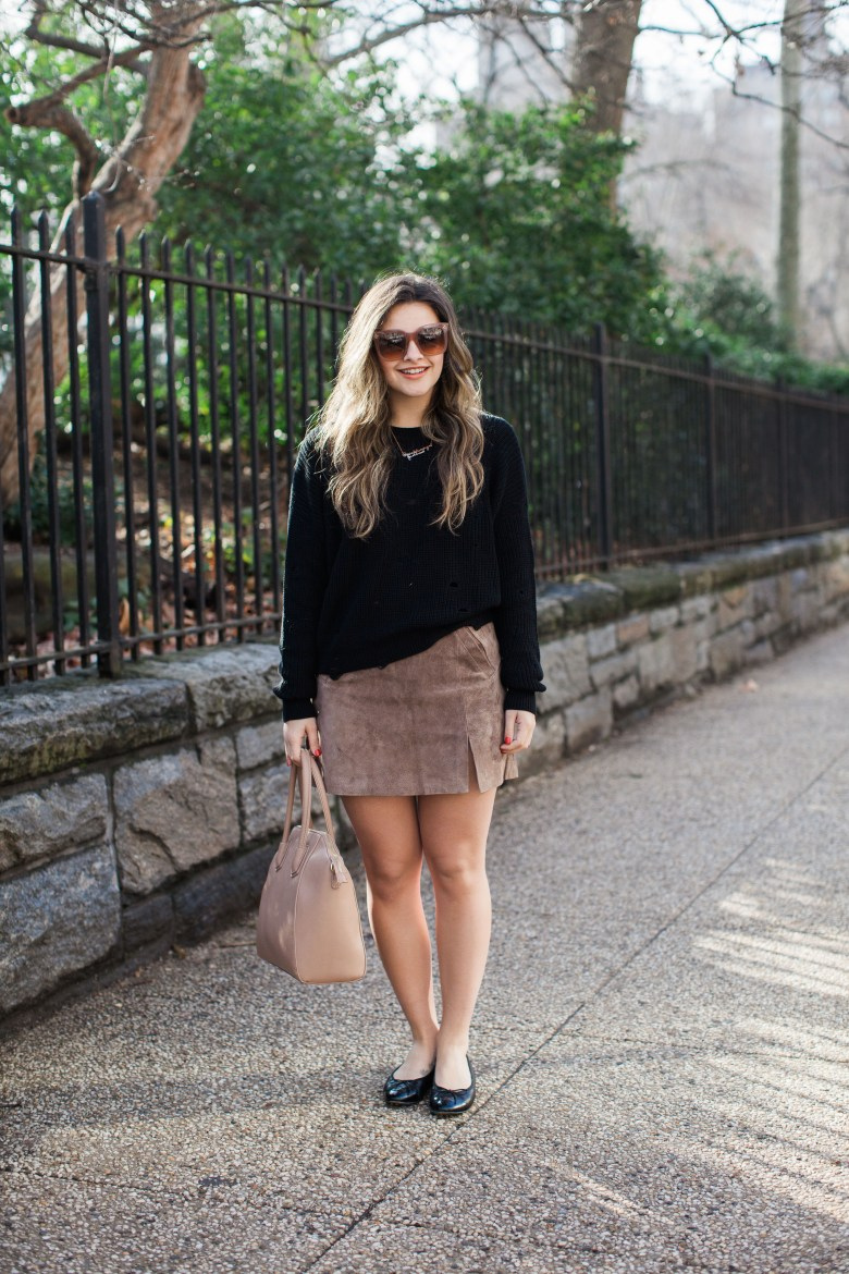 Suede Skirt And Black Sweater Neutral Look