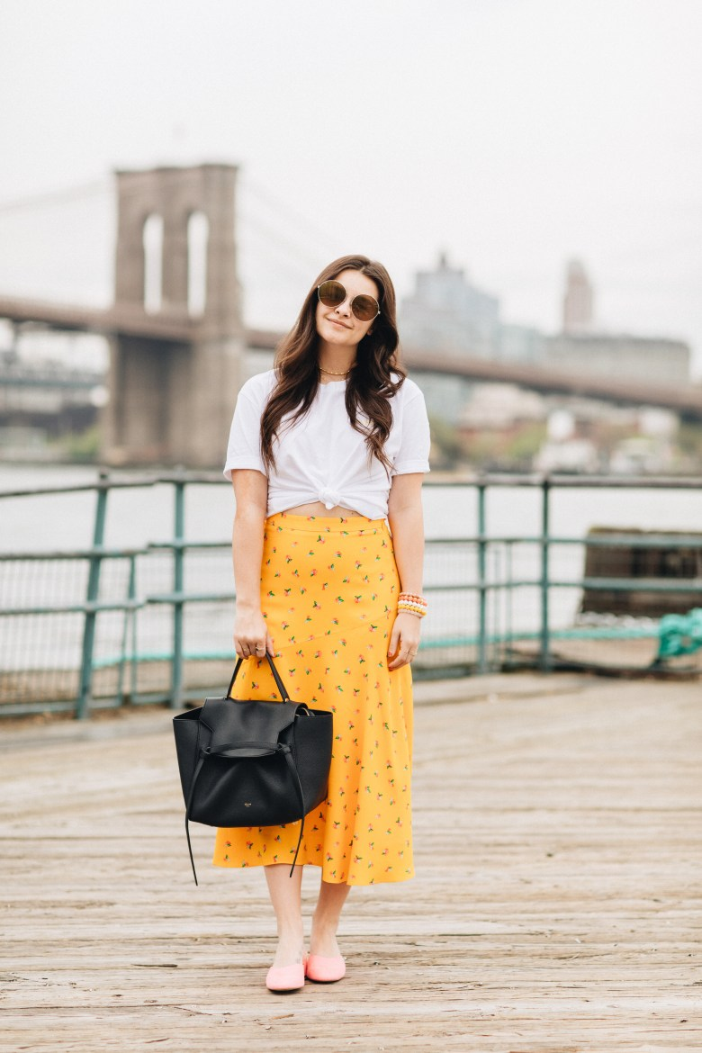 Living In NYC In Your Early 20s; Styling A Midi Skirt With T-Shirt