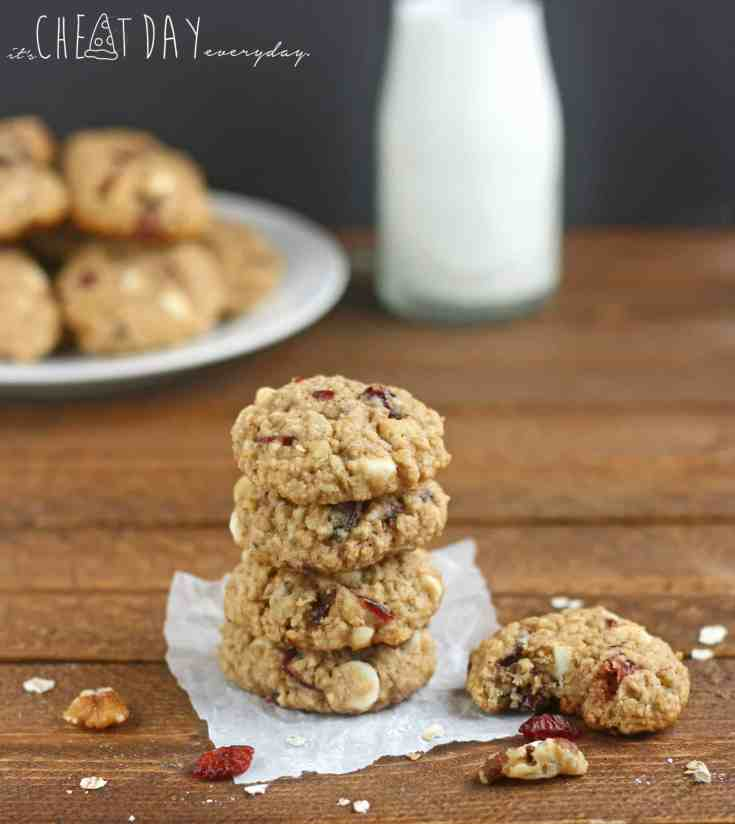 White Chocolate Walnut Cranberry Cookies - It's Cheat Day Everdyay