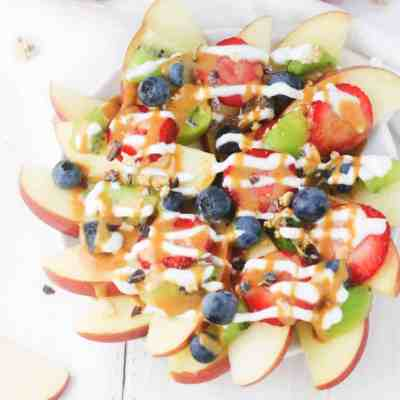 Fruit Nachos with Peanut Butter Drizzle