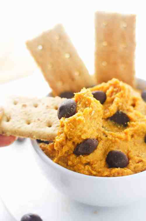 Pumpkin Cookie Dough Dip - seriously addictive and ready for all things dip worthy. Vegan and Paleo friendly. itscheatdayeveryday.com