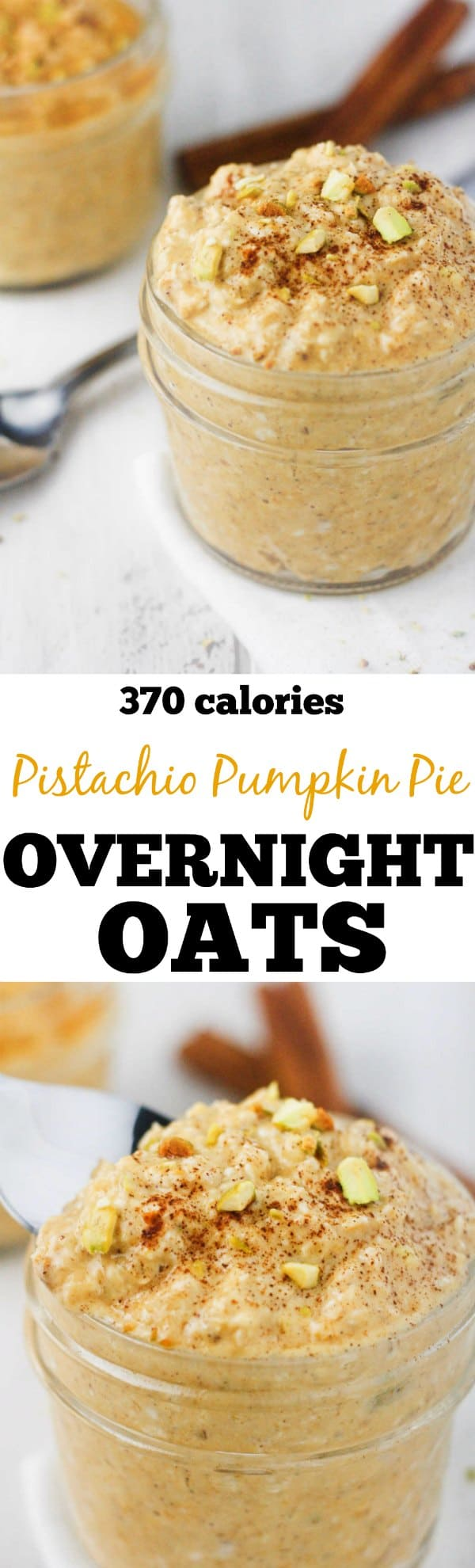 Pistachio Pumpkin Overnight Oats - Deliciously creamy, 5 minute oats made with cinnamon and organic pumpkin puree. www.itscheatdayeveryday.com