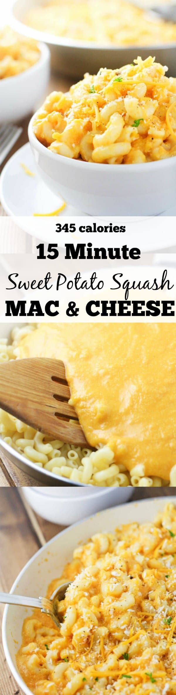 15 Minute, Sweet Potato Squash Mac and Cheese. A deliciously healthy alternative to traditional mac and cheese that is both hearty and satisfying! www.itscheatdayeveryday.com