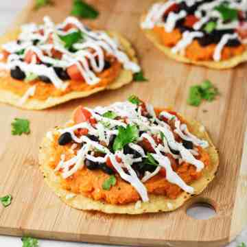 These super easy, Black Bean Sweet Potato Tostadas are the perfect weeknight meal! Gluten free and highly delicious!