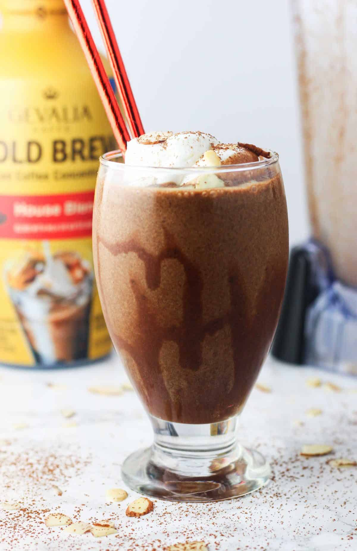 This Chocolate Mocha Almond Protein Smoothie is the perfect, energy-filled morning pick me up! Made with Gevalia Cold Brew Concentrate. www.itscheatdayeveryday.com