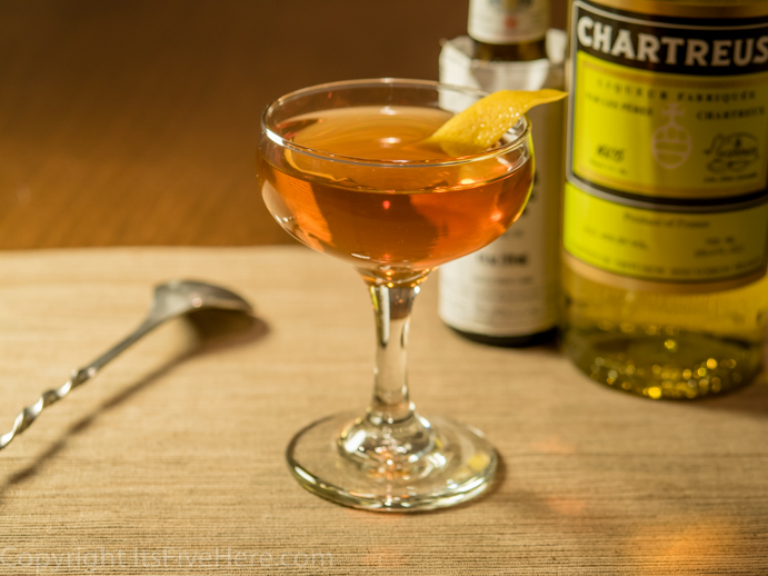 The Greenpoint cocktail, made with Yellow Chartreuse