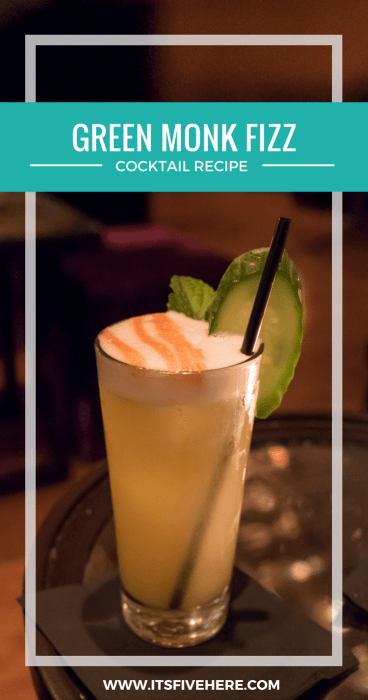 Here's the secret recipe for the Green Monk Fizz cocktail from Garfunkel's in New York City!