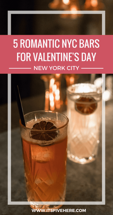 Whether you're with someone,think you're with someone, or just plain don't care,February 14 is a great excuse to let New York City's bars work their magic. Here are five romantic NYC bars that are perfect for Valentine's Day.