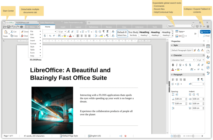LibreOffice 8.0 new tabbed interface layout available