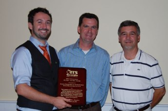 Matt Glasser, GDOT (L) and Keith Murphy, GDOT (R) accept the Innovation Award from President Tom Sever