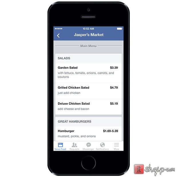 Facebook lejon restorantet të postojnë menytë në faqet e tyre 1