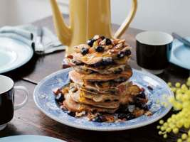 Banana blueberry pecan pancakes