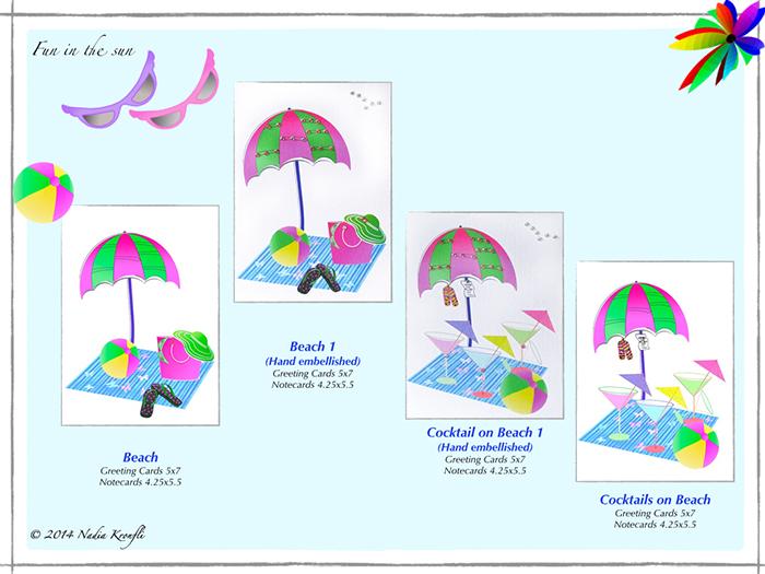 beach scene, sun, umbrella, beach ball, greeting cards