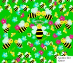 Honeybees, green, flowers, bees, cotton fabric