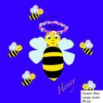 Queen bee, honeybee, bee, blue, fabric
