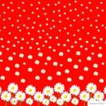 White Daisies, Red, Silk Fabric