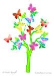 Butterflies, Tree, Greeting Card