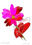 Flower, Hearts, Valentine card.