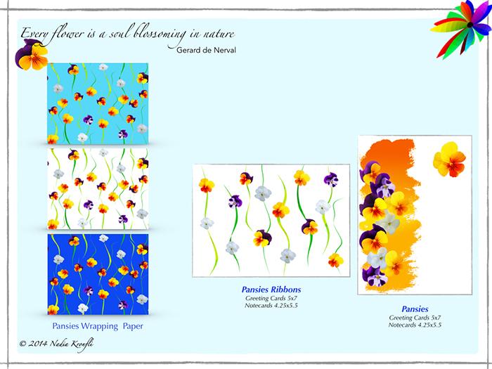nadia-kronfli-pansies-gift-wrap-cards