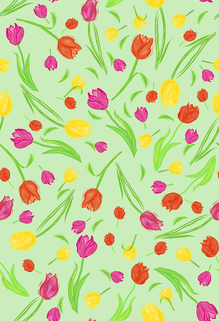pattern of scattered colored tulips  on mint green background