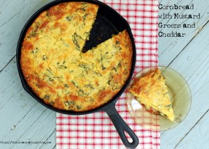 Cornbread with Mustard Greens and Cheddar