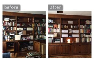 Organized Family Room Bookshelves