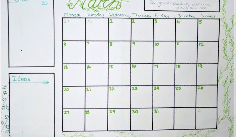 homemade organisation – March calendar