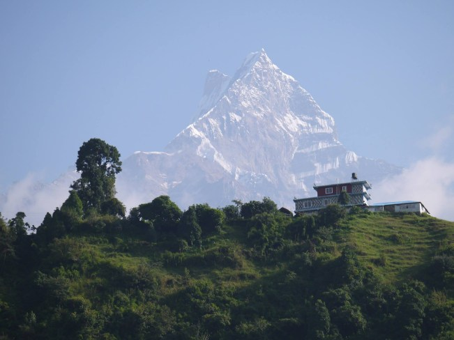 house in nepal mountain background