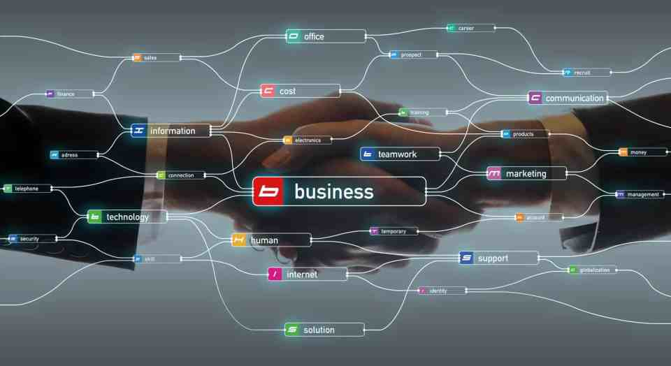 Decorative image despicting data flow and business relations