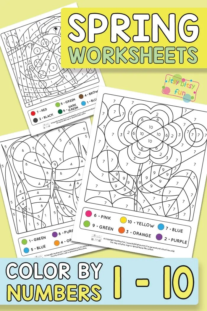 Spring Coloring By Number Worksheets Itsybitsyfun Com