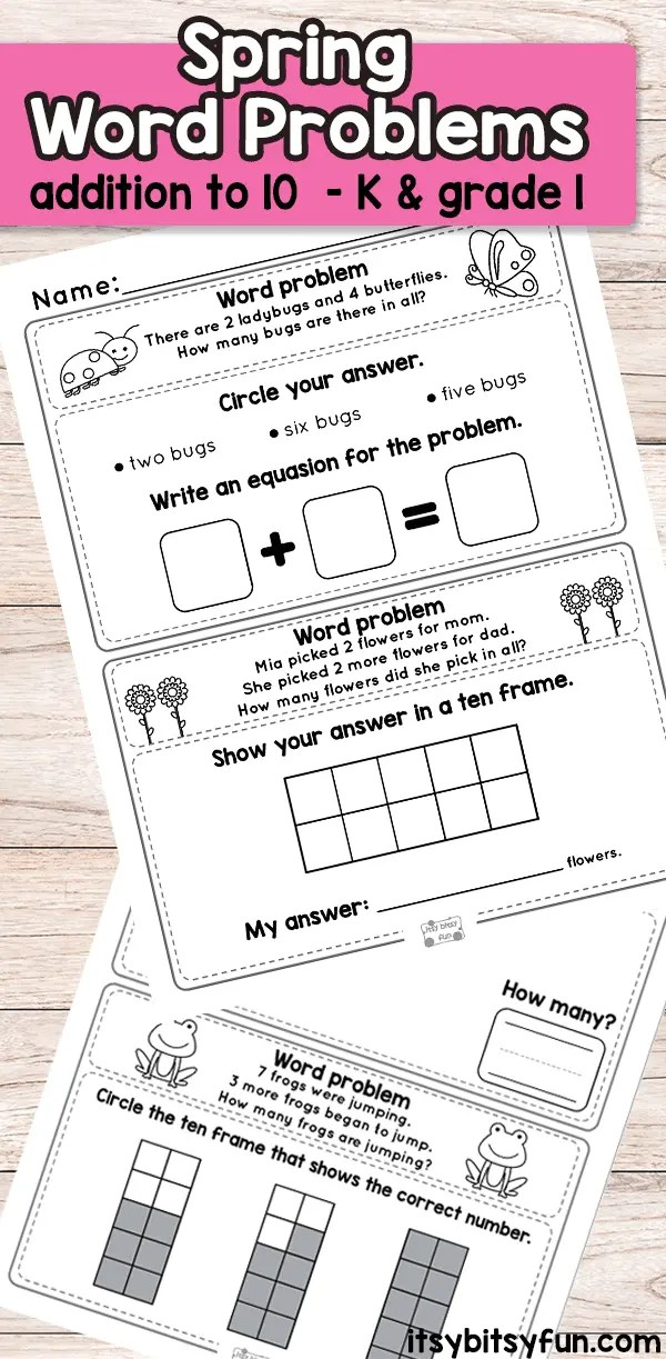 Spring Word Problems Addition To 10 Worksheets
