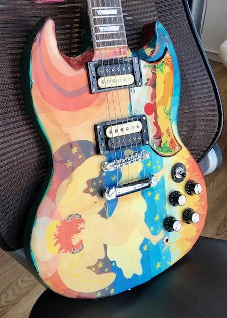 front of Fool replica guitar