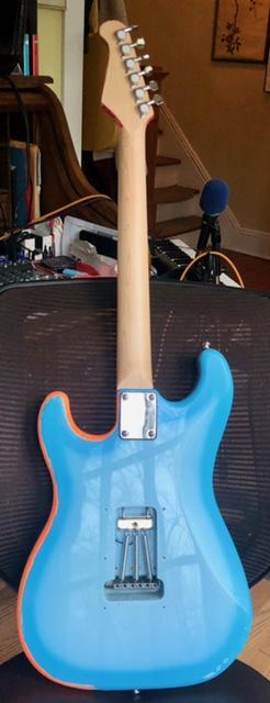 Back of Rocky replica guitar
