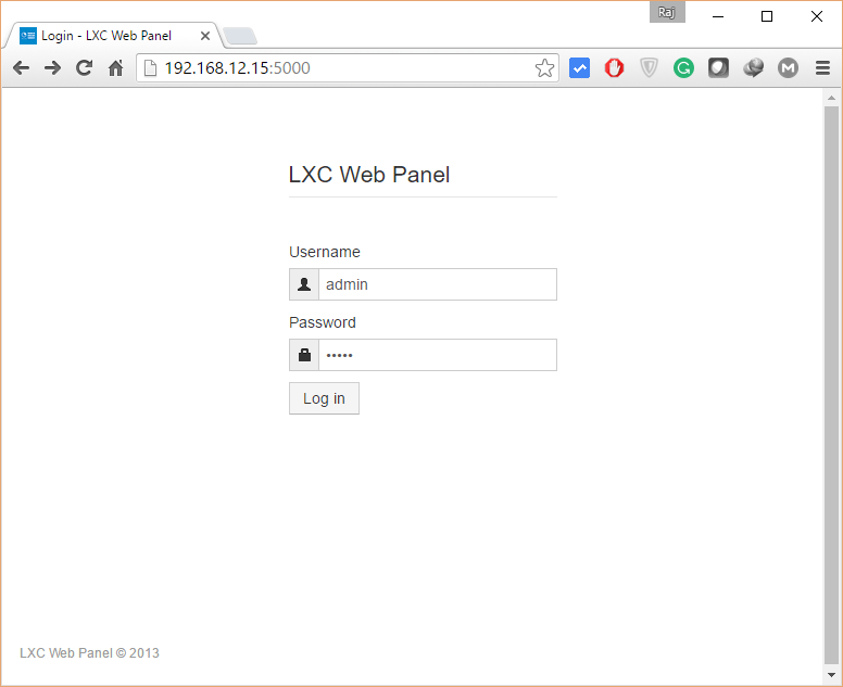 Manage LXC Container with LXC Web Panel - Login Screen