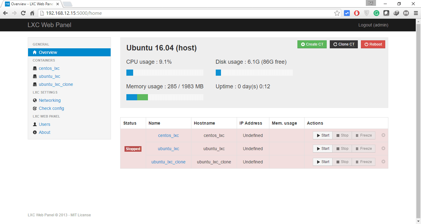 Manage LXC Container with LXC Web Panel - Overview