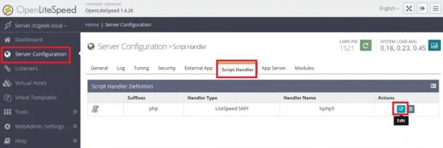 Install OpenLiteSpeed on CentOS 7 - Edit Script Handler