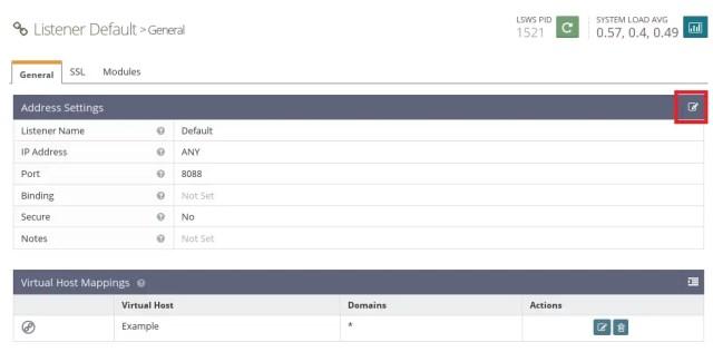 Install OpenLiteSpeed on CentOS 7 - Editing Default Listener