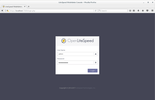 Install OpenLiteSpeed on CentOS 7 - OpenLiteSpeed WebAdmin Console