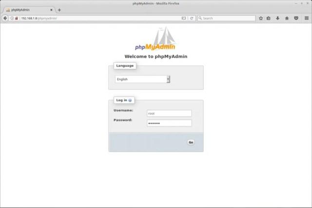 Install phpMyAdmin on Debian 9 - phpMyAdmin Login Screen