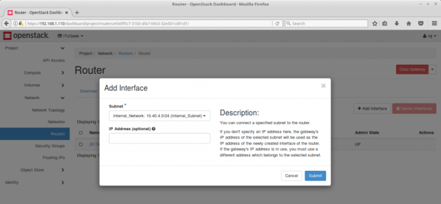Configure OpenStack Networking - Add Interface to OpenStack Router