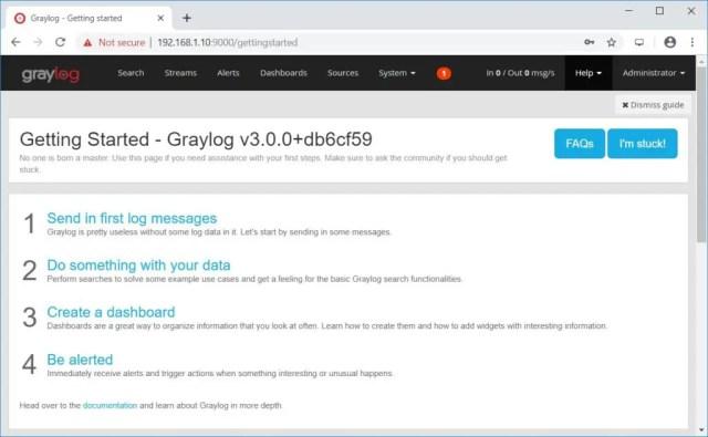 Install Graylog 3.0 on CentOS 7 - Graylog Dashboard